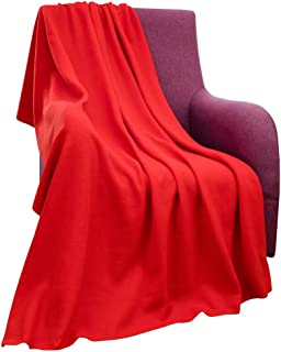 CAI TENG Fleece Blanket Super Soft Cozy Warm Red Throw Blanket Microfleece Blanket for Bed, Sofa or Chair, All Season Use, Easy Care (Red, 52x67 Inches)