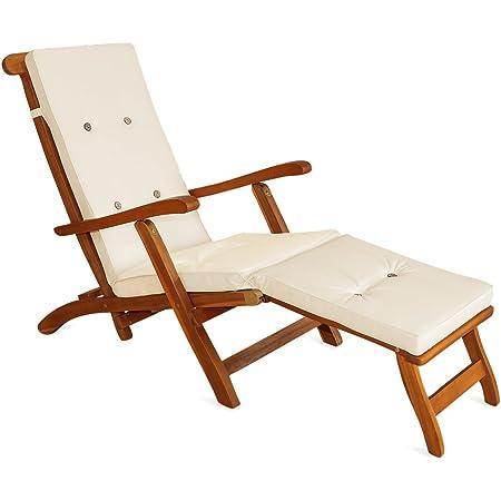 Detex Almohadilla para Tumbona cojín para Silla sillón Crema con Aspecto de Lino con Correas de sujeción para Interior Exterior
