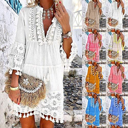 Onsoyours Vestidos Mujer Casual Playa Largos Verano Tie Dye Vestido Boho Hendidura Falda Larga Maxi Vestido Playeros A Blanco 44
