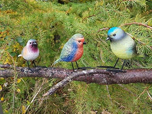 garden mile 3pc Realistic High Detail Resin Bird Set Includes Robin & Blue Tit Birds Garden Ornaments Garden Decorations Garden Patio Pond Decoration Animal Garden Decor