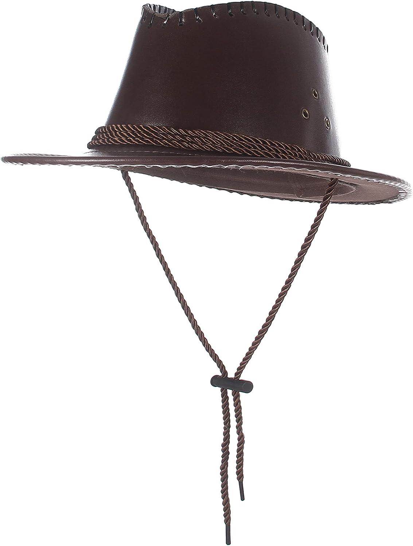 EOZY Women Leather Cowboy Hat Wide Brim Fedora Hat Western Style Cowgirl Hat