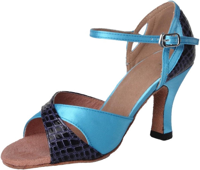 Jig Foo Sandals Open-Toe Latin Salsa blueego Ballroom Dance shoes for Women with 3  Heel