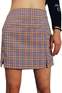 MU2M Women Basic Bodycon Casual Waist High Plaid Split Mini Skirts