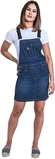 USKEES Short Denim Dungaree Dress - Palewash Bib Overall Skirt Braces Straps