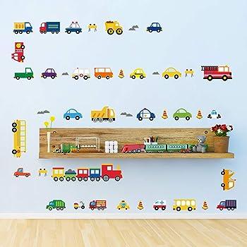 Decalmile Wandtattoo Transport Autos Fahrzeuge Wandsticker Kinderzimmer Jungen Wandaufkleber Babyzimmer Schlafzimmer Spielzimmer Wanddeko Amazon De Kuche Haushalt