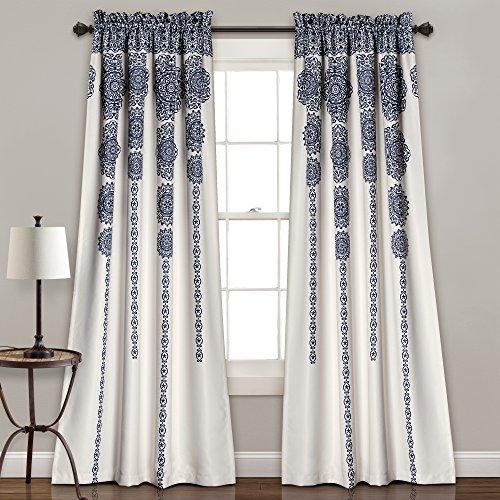 "Lush Decor Stripe Medallion Curtains Fabric Mandala Bohemian Damask Print Room Darkening Window Panel Set for Living, Dining, Bedroom (Pair), 84"" L x 52"" W, Navy"
