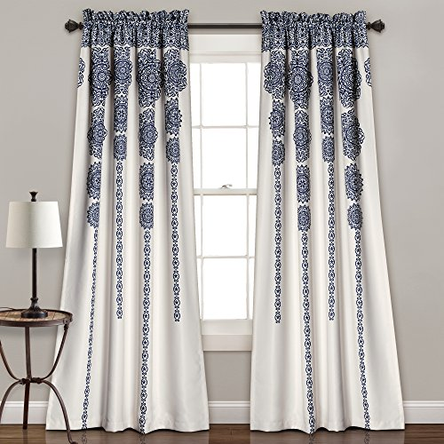 "Lush Decor Stripe Medallion Curtains Fabric Mandala Bohemian Damask Print Room Darkening Window Panel Set for Living, Dining, Bedroom (Pair), 84"" L x 52"" W, Navy"