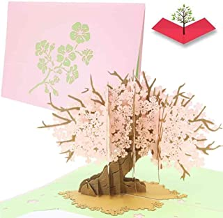 PopLife Cherry Blossom Tree Pop Up Mother's Day Card - 3D Anniversary Gift, Pop Up Valentine's Day Card, Thank You, Pink H...
