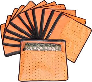 PrettyKrafts Saree Cover Set of 12 Polka dots with Top Transparent Window_Orange