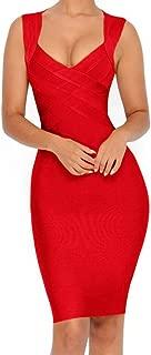 Women's V-Neck Strapless Clubwear Bodycon Bandage Dress …