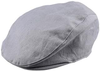Bienzoe Boy's Cotton Linen Striped Flat Peaked Hat Newsboy Golf Baker
