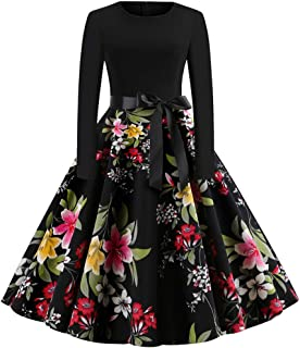 TOTOD Vintage Dress for Women, 1950s Elegant Lace O Neck Christmas Print Costume Fashion Party Swing Dresses