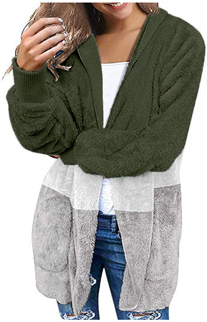 Jumaocio Jacket Womens Wide Stripe Plush Hooded Jacket Zipper Coat