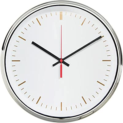 "Arospa Modern Sleek Curved Face Design 12"" Non-Ticking Sweep Silent Wall Clock with"
