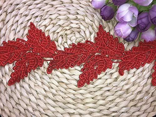 Cinta de borde de encaje con forma de hoja de 2 yardas de 9,5 cm estilo vintage, tela bordada, apliques de costura para manualidades, vestido de novia, decoración de fiestas, ropa bordada (rojo)