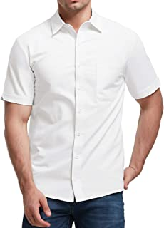 Sponsored Ad - Aimeilgot Mens Long/Short Sleeve Shirts Linen Casual Button Down Tees Spread Collar Plain Shirts