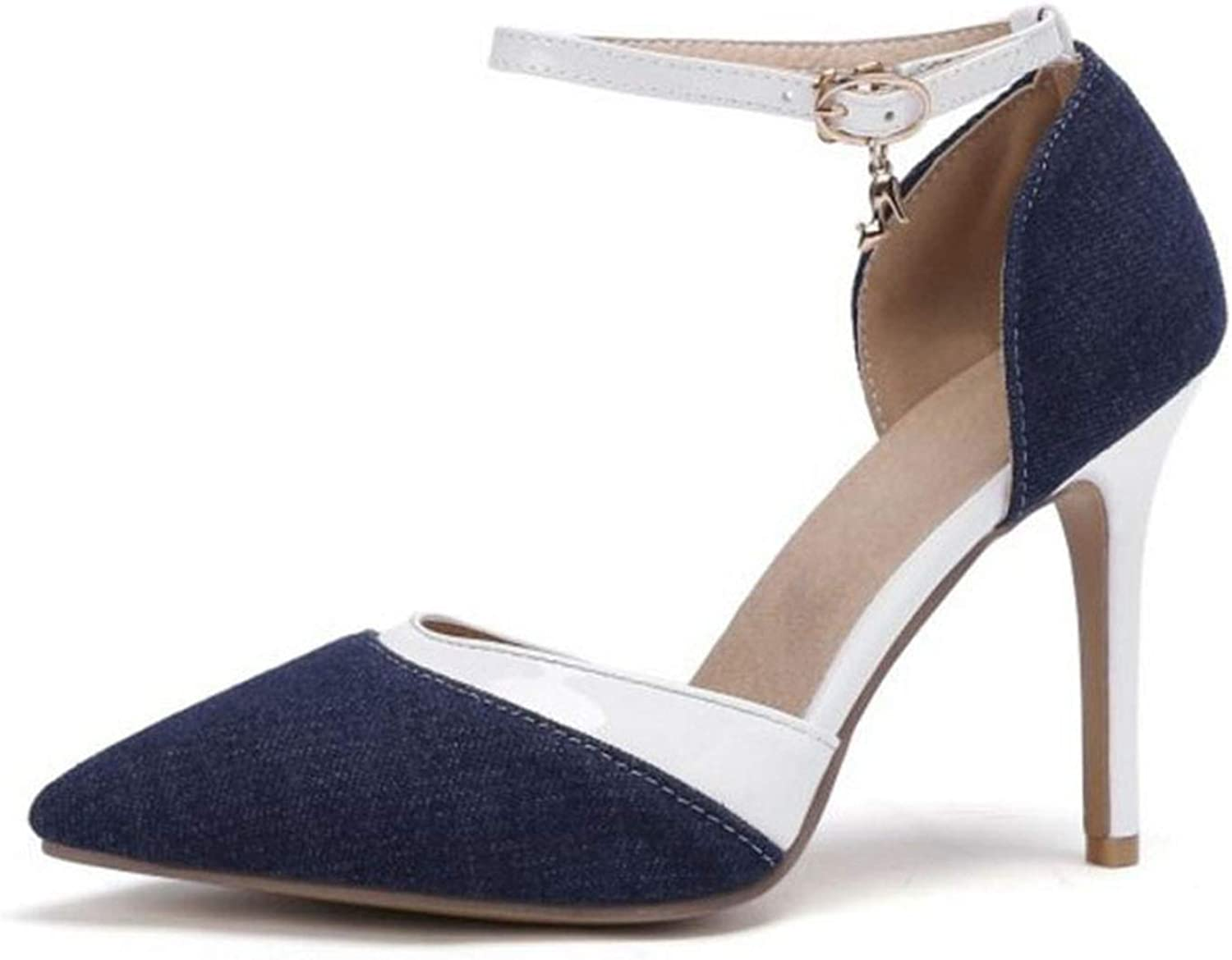Fairly Party High Heel Pointed Toe Ladies Summer shoes Wedding Dating Spring,Dark bluee,6
