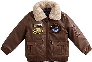 marc janie Baby Toddler Boys' Military Flight Leather Bomber Jacket