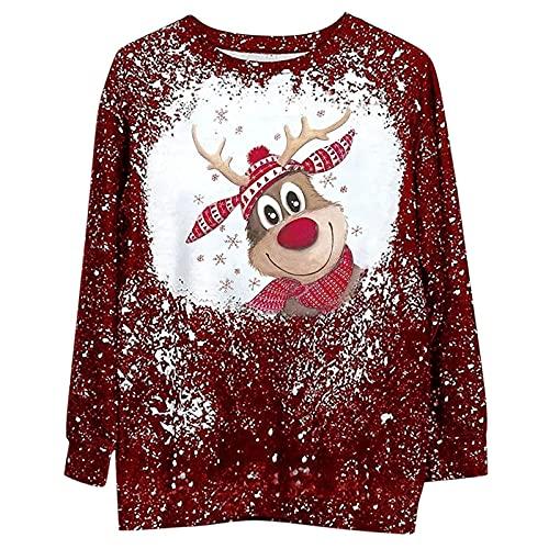 Ropa de Navidad retro para mujer impresión de Navidad suelta casual cuello redondo suéter sudadera, #4 Rojo, M