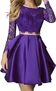 Women's Two Pieces Long Sleeve Lace Homecoming Dresses Backless Short Prom Dress