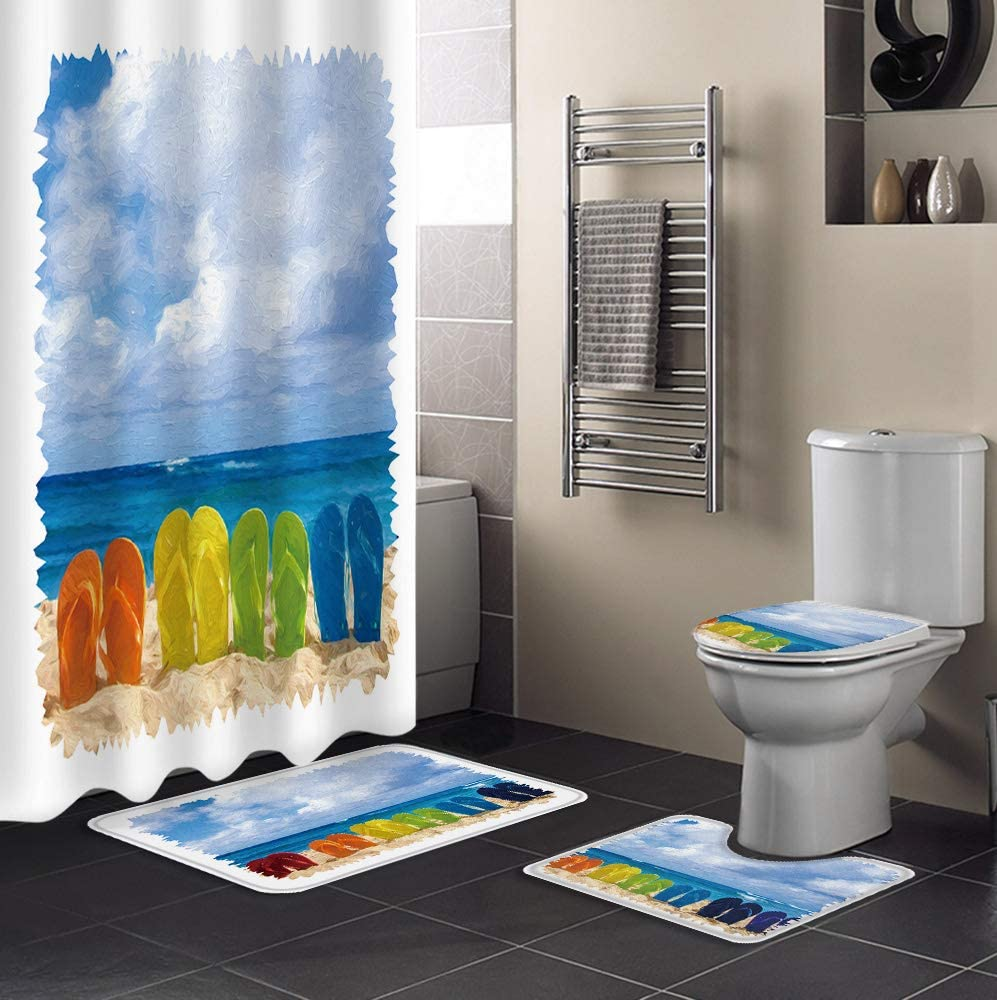 SIGOUYI 4PCS Shower Curtain Set 36x72Inch Finally resale Excellence start Polyes with Waterproof