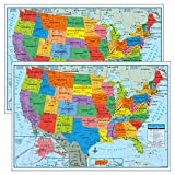 Pack of 2 Superior Mapping Company United States Poster Size Wall Map 40' x 28' with Cities (2 Maps)