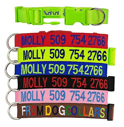 Aolun Personalisierte Hundehalsringe, Welpen Halsbänder & gestickte Hundehalsbänder mit Haustier Name & Telefonnummer, 6 Kragen Farben,2 Einstellbare Größen