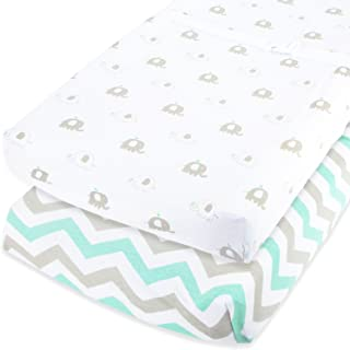 Cuddly Cubs Baby Changing Table Pad Cover Set for Boys & Girls   Soft & Breathable 100% Jersey Cotton   Elephant Chevron P...