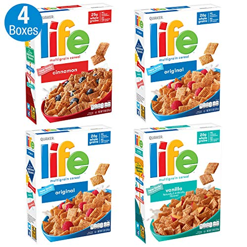Quaker Life Breakfast Cereal, 3 Flavor Variety Pack (4 Boxes)