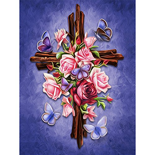 Love The Cross Diamond Painting - PigPigBoss 5D DIY Religion Diamond Embroidery Diamond Painting Cross Stitch Kits Love The Cross Mosaic Pattern Christmas Gift for Adults (11.8 x 15.7 inch)