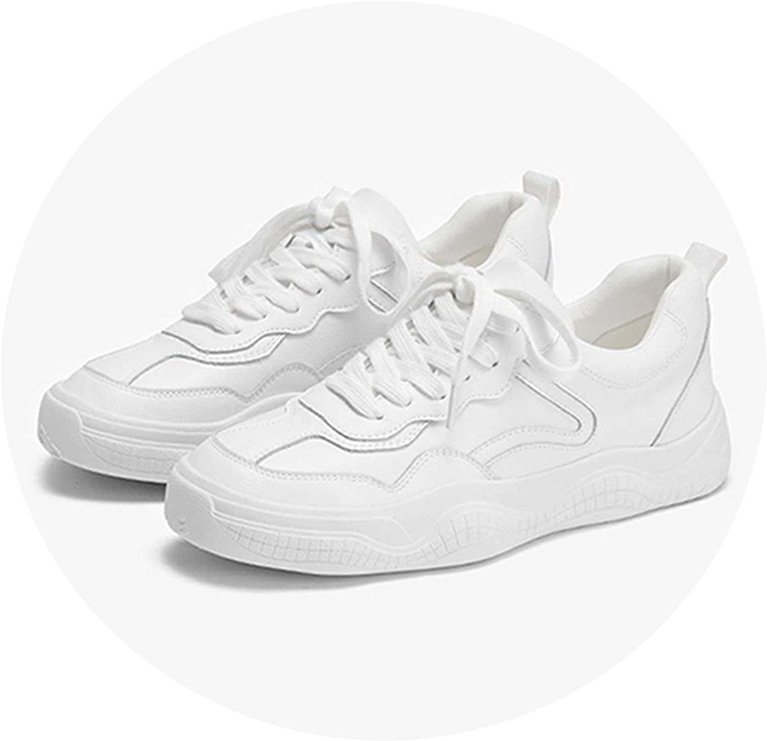 Genuine Leather Women Sneakers White shoes Platform Lace Up Woman Casual shoes Thick Heels Spring Autumn Female Flats Plus Size