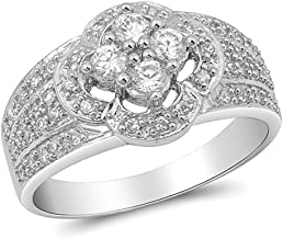 Clear CZ Cute Cluster Micro Pave Flower Ring Sterling Silver Band Sizes 6-10