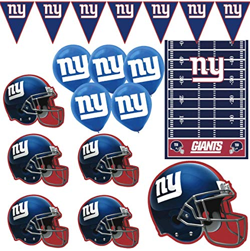 Giants Football Decorations: Wall Sign Helmet Cutouts Logo Balloons Pennant Flag Banner & Table Cover Tailgate