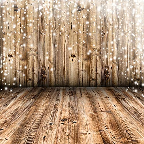 Leowefowa 2,5x2,5m Vinilo Bokeh Telon de Fondo Shabby Chic Tablones De Madera Marrón Copo de Nieve Fondo Festivo Fondos para Fotografia Party Infantil Los Amantes Photo Studio Props Photo Boot