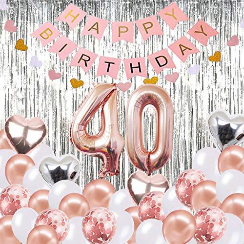 40. Geburtstag Dekorationen Banner Ballon, alles Gute zum Geburtstag Banner, 40. Rose Gold Anzahl Luftballons, Nummer 40 Geburtstag Luftballons, 40 Jahre alt Geburtstag Dekoration Lieferungen