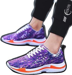 Williess Zapatillas de Deporte Transpirables con Estilo de Camuflaje de Malla Zapatos Casuales de Hombre Zapatos de Hombre (Color : Púrpura, Size : 42)