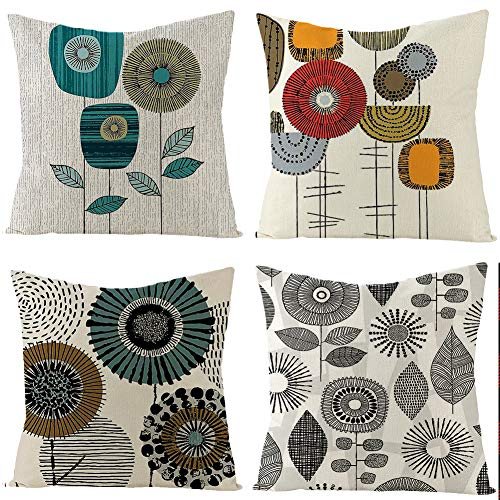 Boyouth - Federa decorativa per cuscino con motivo floreale astratto, in cotone, per divano, camera da letto, sedia, sedile auto, 4 pezzi, 45,7 x 45,7 cm