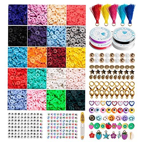 harayaa Juego de cuentas de colores de 4560 piezas, cuentas espaciadoras sueltas de 6mm, colores mezclados para pulsera, fabricación de joyas, llaveros, artes