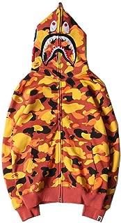 Fashion Bape Orange Camo Print Casual Hoodie Pullover Sweater for Men/Women