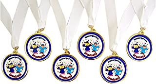 Pack of 6 Blue Kindergarten Graduation Award Medals on White Ribbons, 2 1/2 Inch