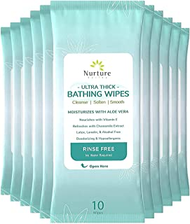 Ultra Thick Rinse Free No Shower Bathing Wipes (12 pack) | 120 Extra Large Adult Sponge Bath Wash Cloth Wipes - Latex, Lan...