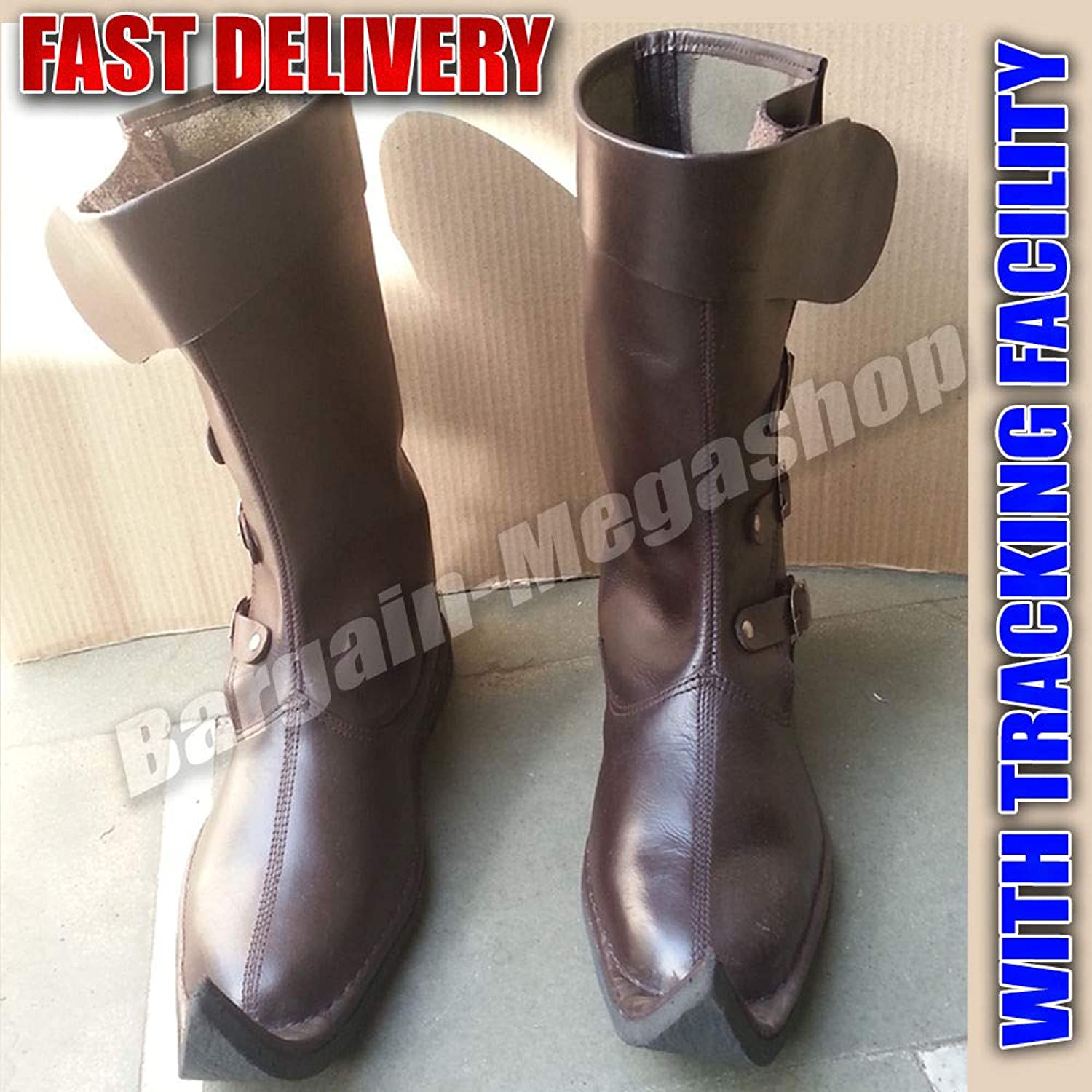 Uniquewonderitems Riato Fame Designer Medieval Leather Boots Brown Reenactment Mens shoes Pirate Role Play Boot