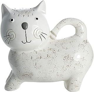 SPOTTED DOG GIFT COMPANY Hucha Gato, huchas Originales Infantiles de cerámica Blanca para niños o Adultos, Regalo para Amante de los Gatos niña y niño