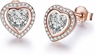 Twenty Plus Heart Shaped Stud Earrings Rose-Gold for Women and Girls Fashion Jewelry 1-Pair