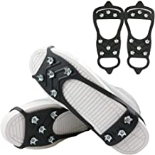 The Fisherman 8 Teeth/Studs/Spikes Anti Slip Ice & Snow Grips, Shoe/Boot Traction Cleats,Rubber Crampons Slip-on Stretch Footwear for Hiking (M/L)