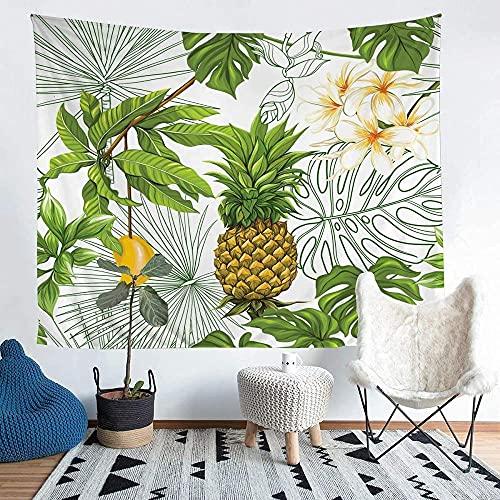 Yhjdcc Tapiz de mango de piña para niños y niñas, tapices de frutas tropicales, para colgar en la pared, hoja de palma, manta de cama con temática de la naturaleza, manta de pared de 152 cm