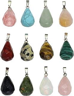 Jovivi Juego de 12 colgantes para bolso o collar, de piedra natural de chakra, con cuentas de cristal, colores surtidos, g...