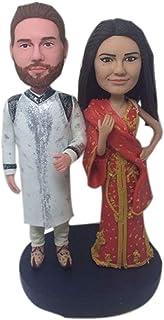 Traje tradicional indio Pastel de bodas personalizado Topper Bobble Head Figura de arcilla basada en las fotos de los clie...