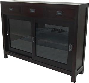 Etnicart - Credenza con vetri in mogano-110x80x40-LEGNO MASSELLO