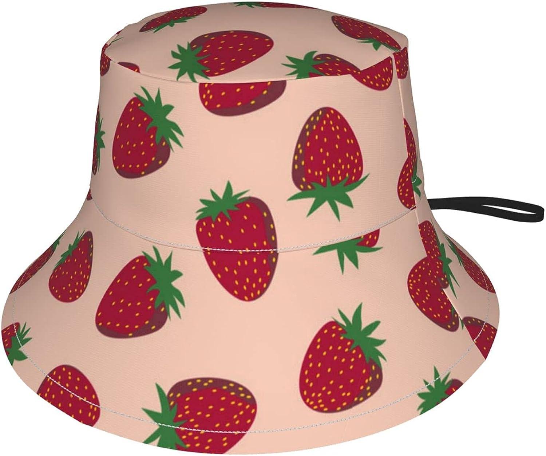 Jeezshop Bucket Hat with Strawberry Popular overseas Sun On Pink Print Charlotte Mall